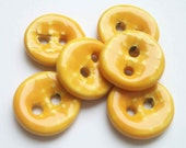 Sunny Yellow Basket Weave Ceramic Buttons