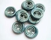 Blue Swirl Ceramic Buttons