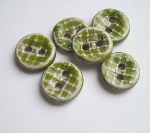 Lime Green Basket Weave Ceramic Buttons