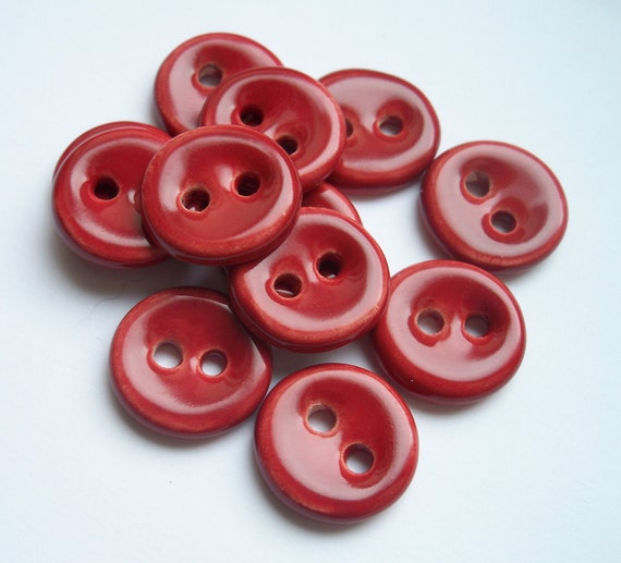Cherry Red Ceramic Buttons