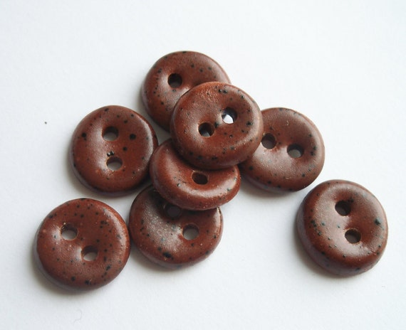 Small Chocolate Brown Ceramic buttons