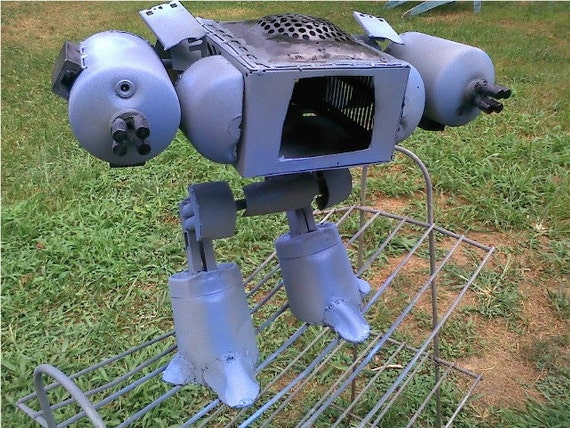 ED-209 Robocop sculpture from recycled steel