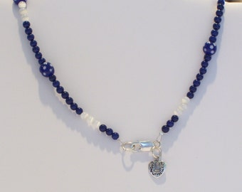 Blue and White Polka Dot Necklace