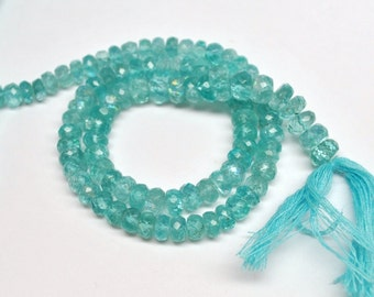 Sparkling Electrical Blue Apatite, Faceted Rondelles Beads - 14''STRAND - 4 mm - 110331-04