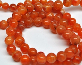 Round Beads Reddish Orange Carnelian - 100 pcs - 24''STRAND - 6-8 mm - 110411-02