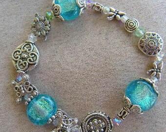 Glowing Aqua Blue Dichroic glass, Butterfly, Swarovski Crystal Silver Bracelet - Summer Garden Party