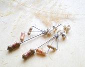 Dangle Earrings Larimeloom - three brown resistors