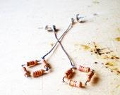 Earrings Silver Square-Post Earrings-Long Chain Dangle-Geometric Earrings