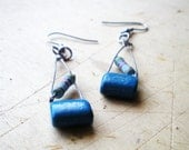Forged Dangle Blue Earrings, Silver Hook, Geometric and Techie