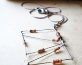 Metal Charm Silver Chain Necklace- Geometric Necklace with Rectangle Carm - Orange Resistor