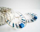 Sterling Silver Hoop Earrings Turquoise Resistor