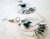 Little Silver Hoop and Green Forest Earrings.Green Forged Dangle Earrings. Techie Minimalist Geometric