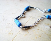 Baby Blue Silver Chain Anklet - Silver Chain Blue Baby Bracelet - Adjustable