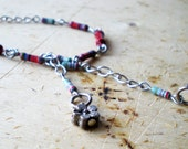 Strawberry Adjustable Beach Anklet - Silver Chain with Flower Charm and Resistor - chain Bracelet