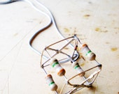 Cube Necklace, Geometric Pendant, Metal Forged Charm, Geometric Jewerly