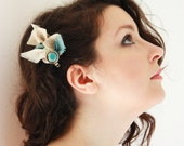 Fabric Hair Clip , Feather Tourquoise and Cream Clips, Vintage Button - weddings - Something Blue