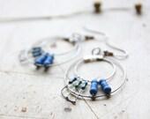 Peacock's Tail Silver Hoop and Blue Earrings.Forged Dangle Earrings. Techie Minimalist Geometric