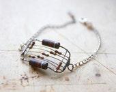 Chain Bracelet - Hand Forged Metal Bracelet - Rectangular Bracelet - Geometric Jewerly - Brown and Blue