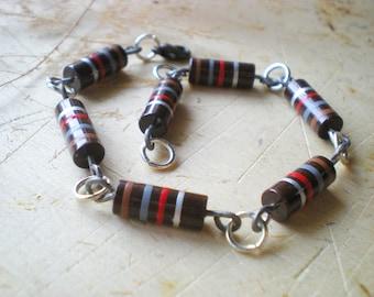 Brown Striped Men Bracelet - Resistor Geekery Bracelet for Him and Her - Unisex Bracelet