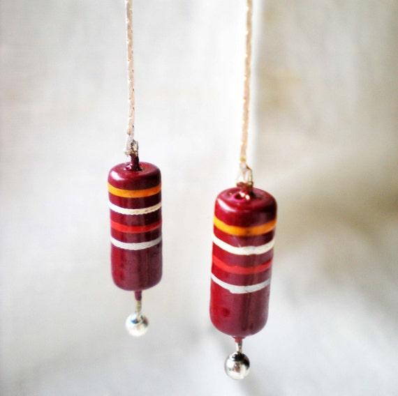 Dangle Long Chain Post Earrings Red Striped