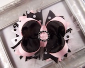 Black, Pink, and White Polka Dot Fluffy Stacked Boutique Bow with Rhinestone  Slider