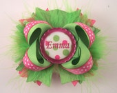 Lime and Hot Pink Bow Fluffy Boutique Bow with Personalized/Custom Bottle Cap Center