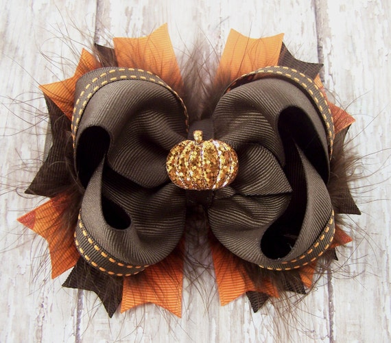 Pumpkin Bow Fall Bow Thanksgiving Bow Fluffy Stacked Boutique Bow with Glitter Pumpkin Center