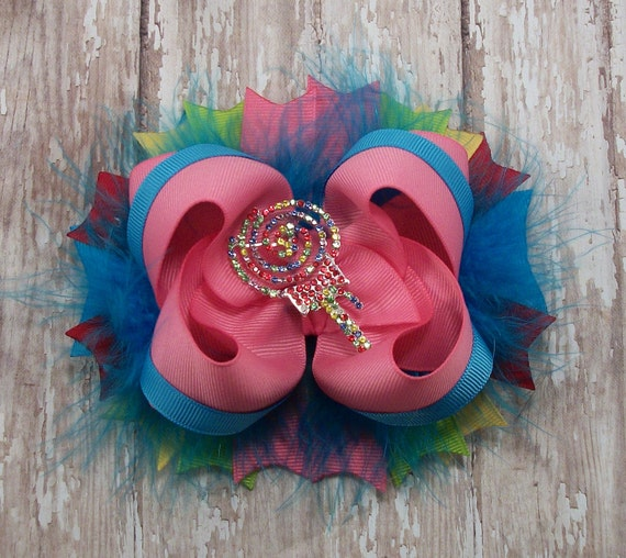 Lollipop Bow Colorful Bow Fluffy Stacked Boutique Bow with Beautiful Lollipop Rhinestone Slider