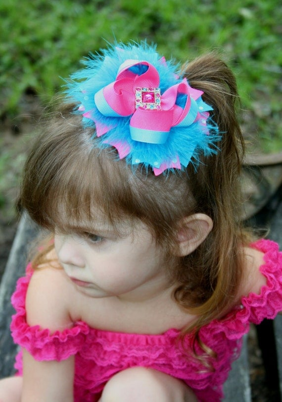 Turquoise and Hot Pink Stacked Fluffy Boutique Bow with Rhinestone Center
