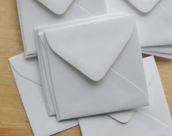 White mini envelopes for 3 inch square cards Set of 50