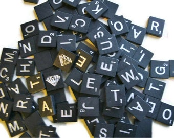 25 Black and Silver Scrabble Tiles