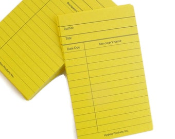 Yellow Library Cards set of 20