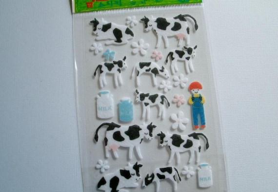Cows stickers set of 10 cows 3D sticker set