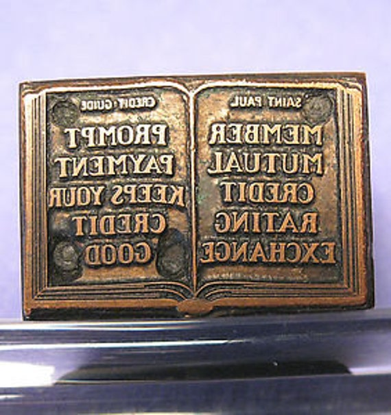 Copperplate Printer's Block Credit Advertising Collectible