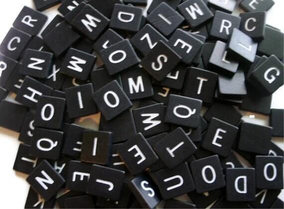 Black and White Anagram Tiles Letter tiles set of 25 random wood tiles