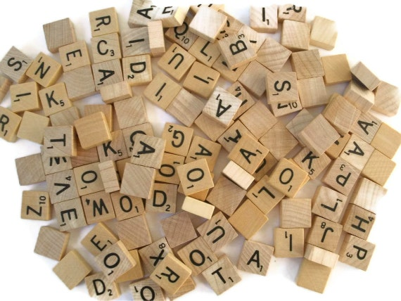 mini scrabble tiles set of 25 tiles circa 1970s wood mini tiles