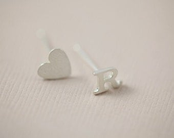 initial earrings, heart earrings, dainty earrings - sterling silver