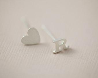 initial earrings, letter earrings, personalized earrings, dainty earrings - sterling silver