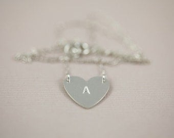 heart necklace, monogram necklace, initial necklace, monogram pendant , personalized gift - sterling silver necklace