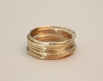 stacking rings, skinny rings - ring set of 7 gold stackable rings