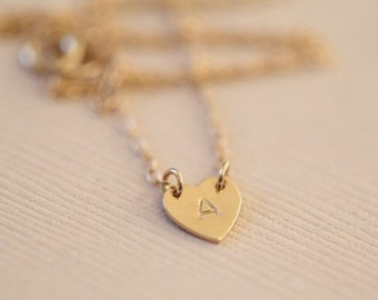 14k gold necklace, heart necklace, initial necklace, monogram necklace, dainty necklace