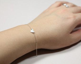 dainty bracelet, silver heart bracelet, monogram bracelet - sterling silver