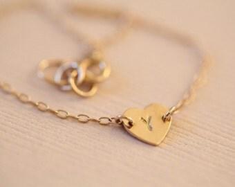 14k gold bracelet, heart bracelet, initial bracelet, dainty bracelet - solid gold bracelet