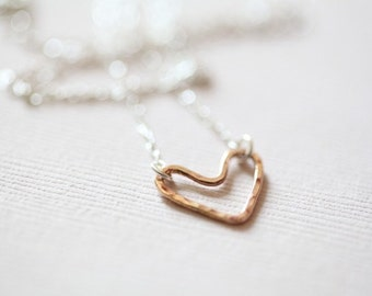 rose gold necklace, open heart necklace, gift for her, dainty necklace - rose gold filled heart sterling silver necklace