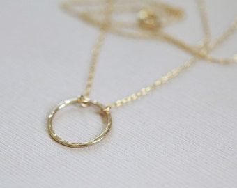 circle necklace, o necklace, eternity necklace - gold filled