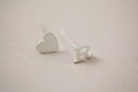 initial earrings, letter earrings, heart earrings, dainty earrings - sterling silver
