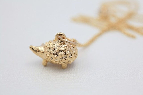 SALE - Hedgehog necklace, animal jewelry, hedgehog pendant