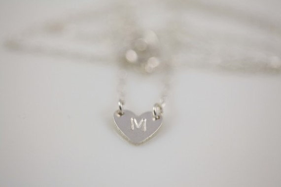 Sterling silver tiny initial heart necklace