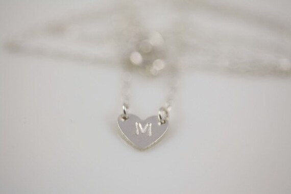 Bridesmaid gift deal - Silver Initial tiny heart necklace by hand stamp - MADE TO ORDER