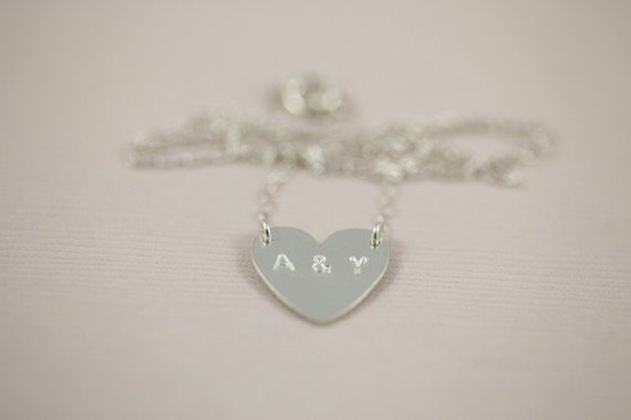couple initial necklace, love necklace, heart necklace, custom hand stamped pendant - sterling silver necklace